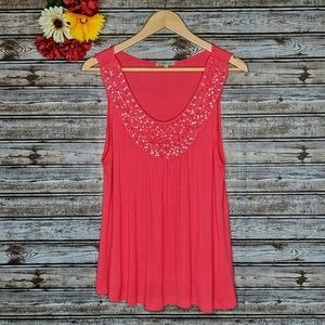 3/$15 • Charlotte Russe Coral Texture Sequin Tank